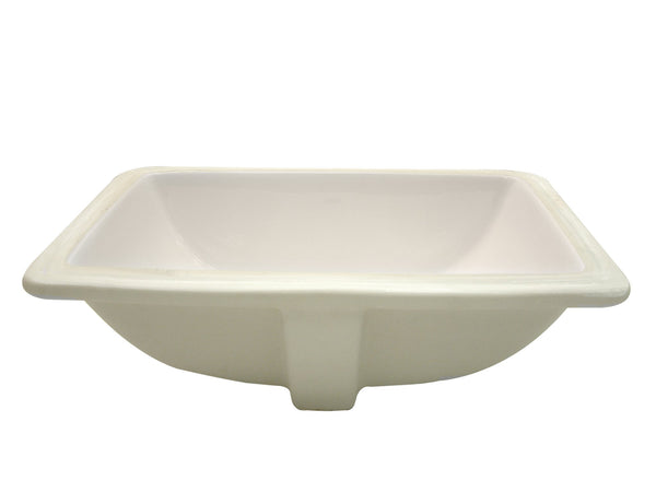 Callensia® Rectangular Vitreous China Undermount Bathroom Sink with Overflow in Biscuit