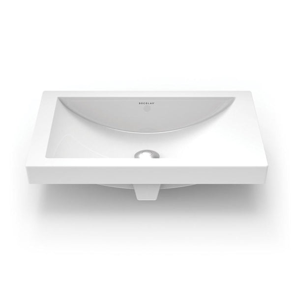 Breanna ® Vitreous China Semi-Recessed Rectangular Bathroom Sink with Overflow