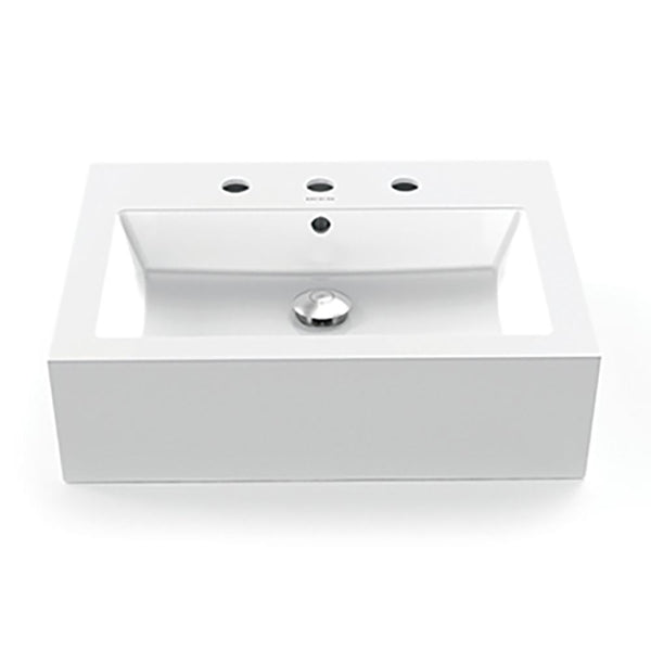 "Bluebell Square White Above-Counter Bathroom Sink with Overflow and 8"" Faucet Deck"
