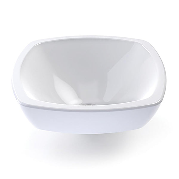Amalie® Square Semi-Recessed Vitreous China Bathroom Sink in White