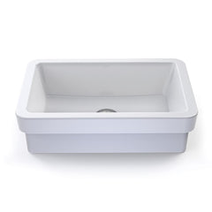 Ambre ® Collection Semi-Recessed Rectangular Vitreous China Bathroom Sink in White