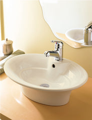 Classically Redefined ® Biscuit Above-Counter Vitreous China Sink, Overflow and Single Hole Drilling