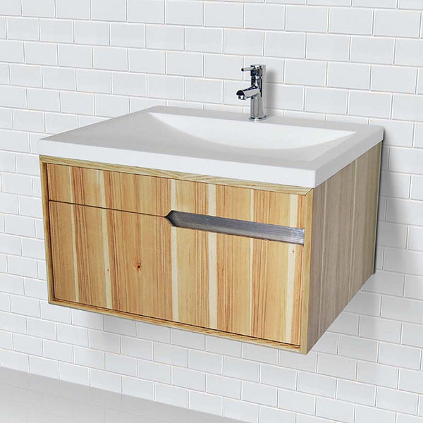 Cityscape ® Collection 30 inch Hickory Wall Mount Vanity with Solid Surface Top and Integrated Sink