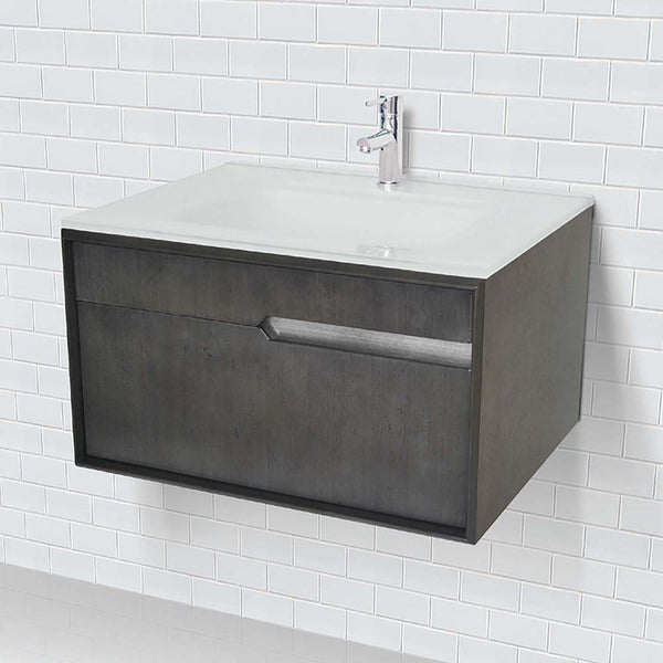 Cityscape ® Collection 30 inch Charcoal Wall Mount Vanity with Tempered Glass Top, Integrated Sink