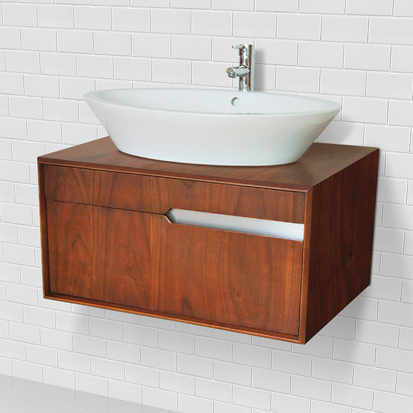 Cityscape ® Collection 30 inch Medium Walnut Solid Wood Wall Mount Vanity