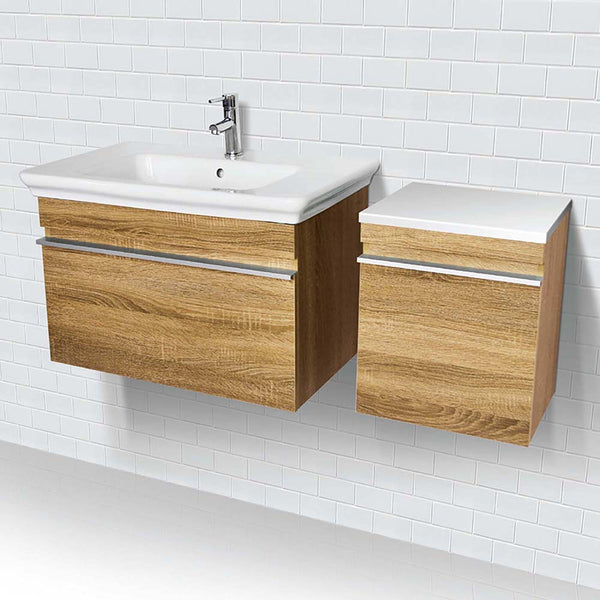 Lakeside ® Wall Mount Vanity with Side Cabinet in Hickory