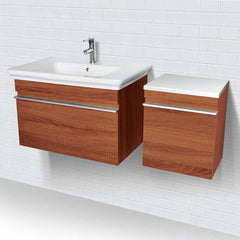 Lakeside® Wall Mount Vanity with Side Cabinet in Medium Walnut