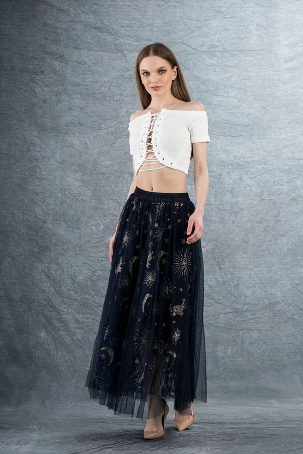 Ella Tulle Maxi Skirt with Sparkle Navy