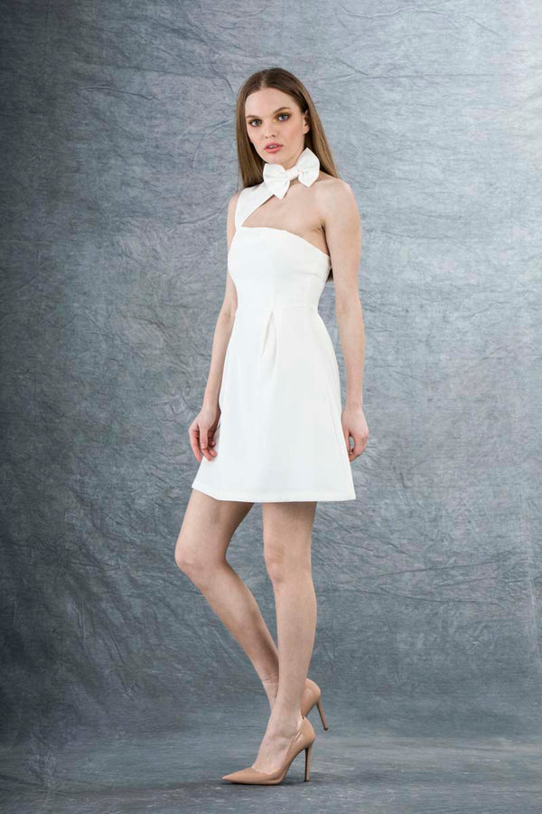 Louie Bow Mini Dress White