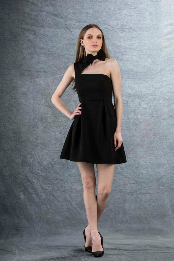 Louie Bow Mini Dress Black