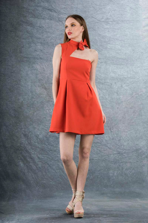 Louie Bow Mini Dress Red