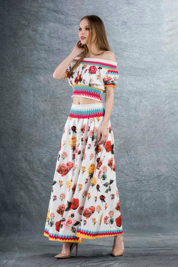 Penelope Flower Maxi Skirt White