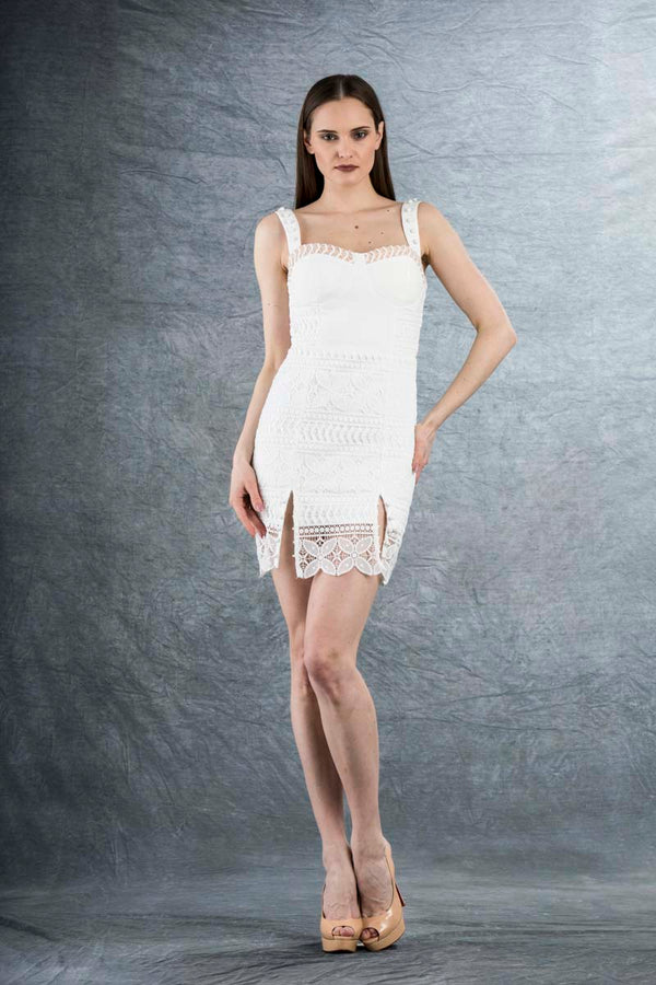 Vanessa Lace Mini Dress White
