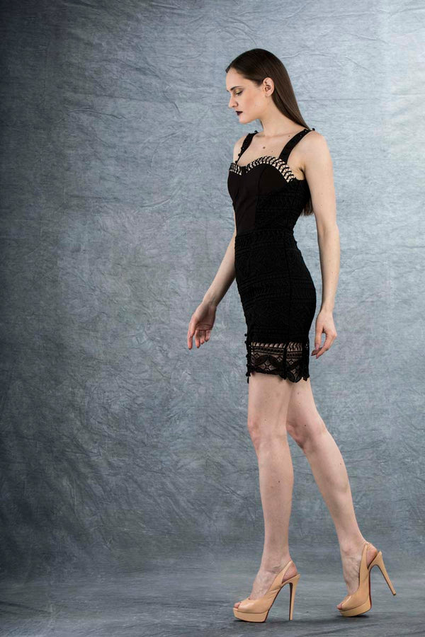 Vanessa Lace Mini Dress Black