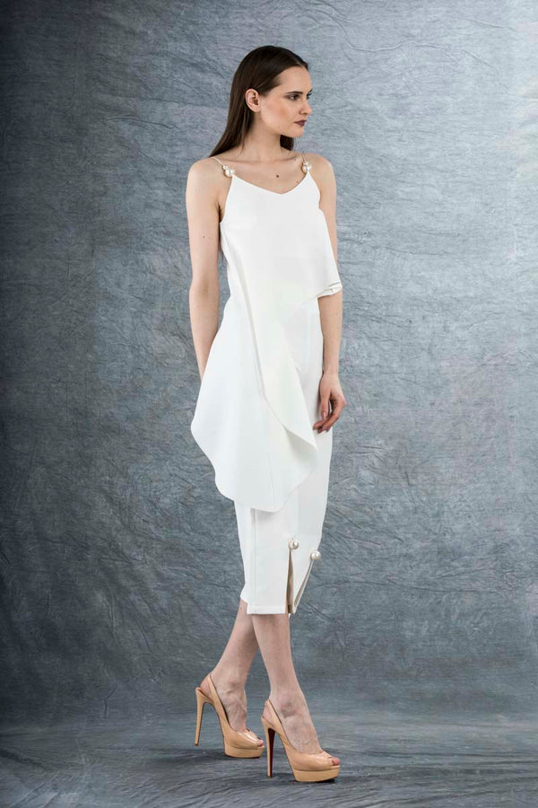 Eleanor Pearl Split Culottes White