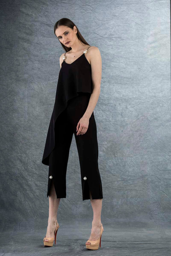 Eleanor Pearl Split Culottes Black