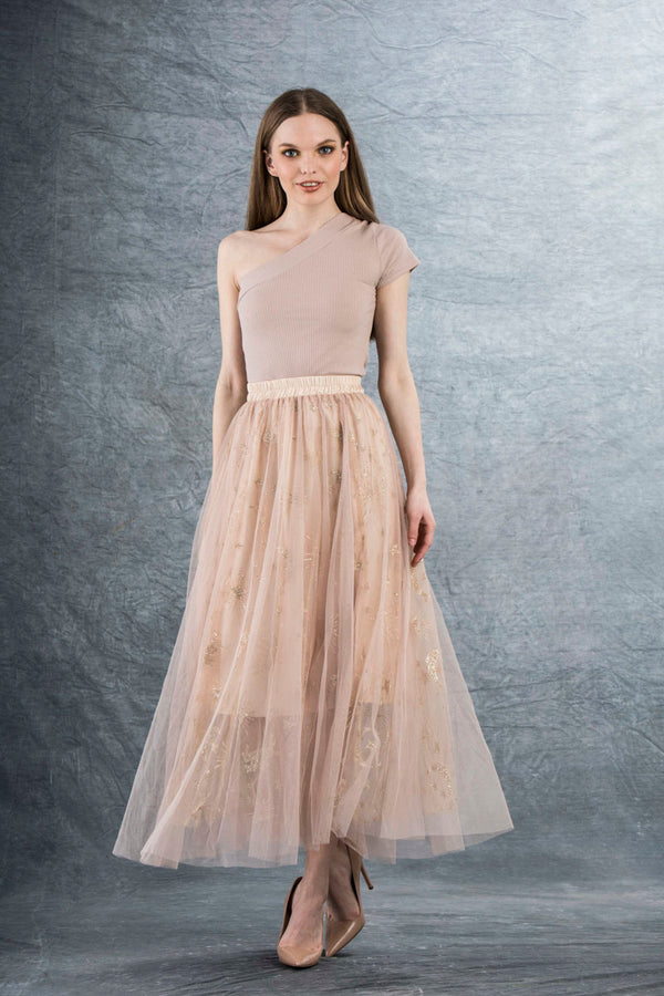 Ella Tulle Maxi Skirt with Sparkle Pink