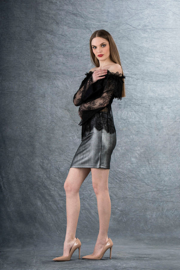 Caprice Metallic Mini Skirt