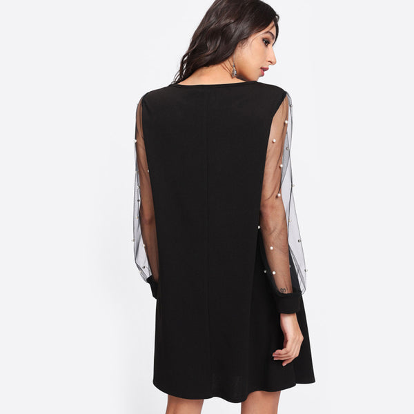 Autumn Black Boat Neck Long Sleeve A Line Dress