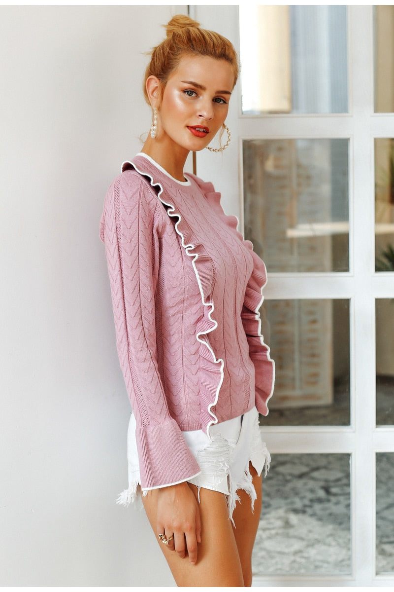 Simplee Side ruffles sweater women winter 2018