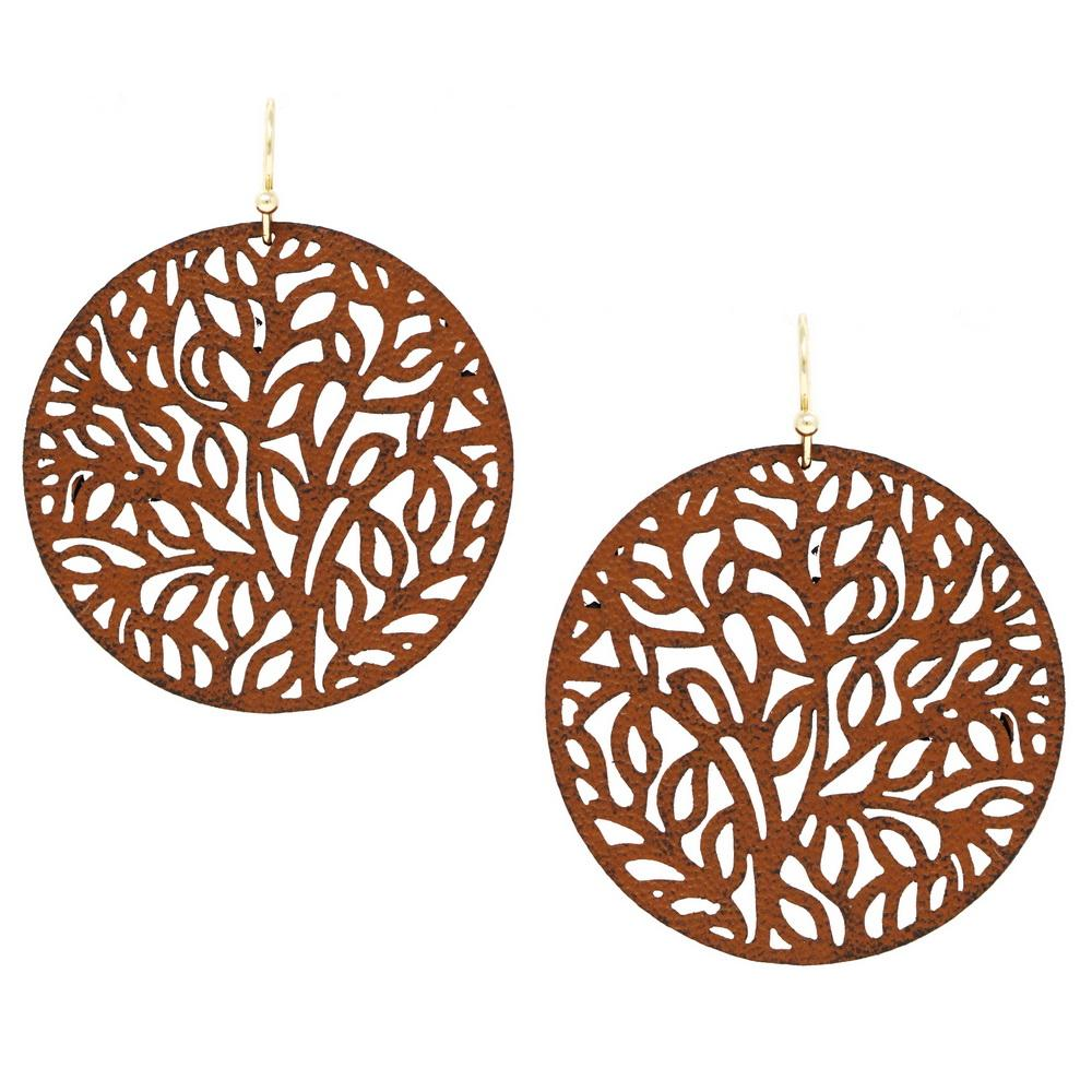Load image into Gallery viewer, Filigree Leather Cut Out Disc Earring - Jaffi's