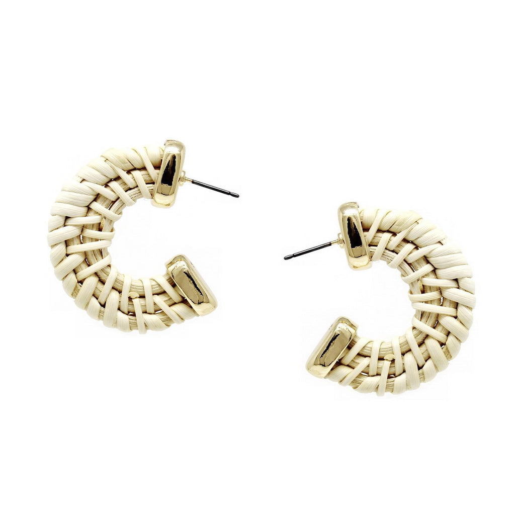 Woven Straw Hoop Earrings