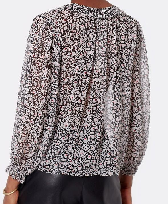 Amissa L/S Printed Silk Blouse