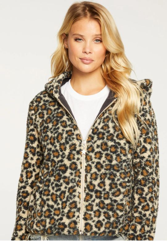 Load image into Gallery viewer, Animal Print Faux Fur Hoodie