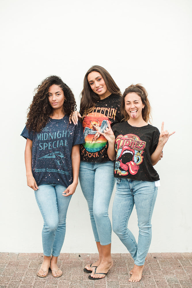 Rock & Roll Band Tee - 3 Women Different Body Types - Front View