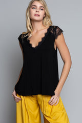 Knit Top with Lace Cap Sleeves - Black - Jaffi's