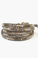 The Grey Botswana Agate Mix Wrap Bracelet