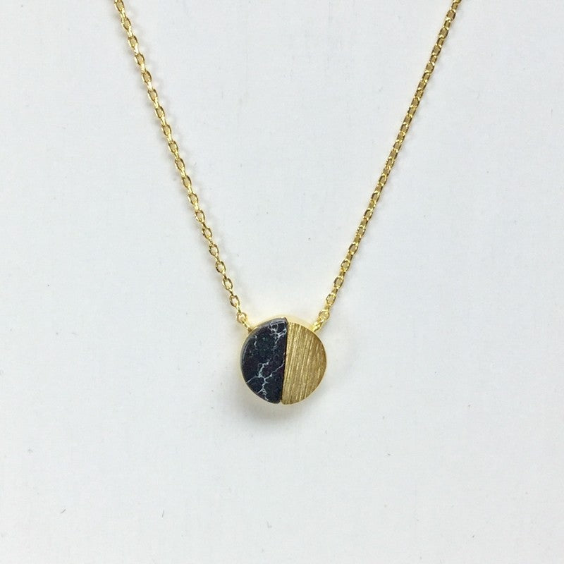 Gold Circle Stone Necklace