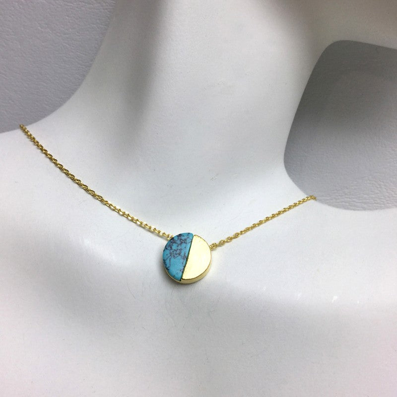 Load image into Gallery viewer, Gold Circle Stone Necklace - Jaffi's