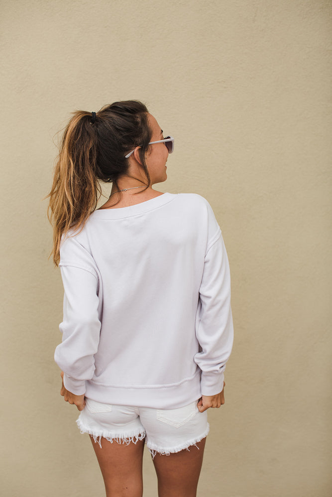 Load image into Gallery viewer, Camila V Neck Crop Sweatshirt - Bone - Back View