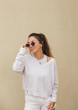 Load image into Gallery viewer, Camila V Neck Crop Sweatshirt - Bone - Another Alternate Front View