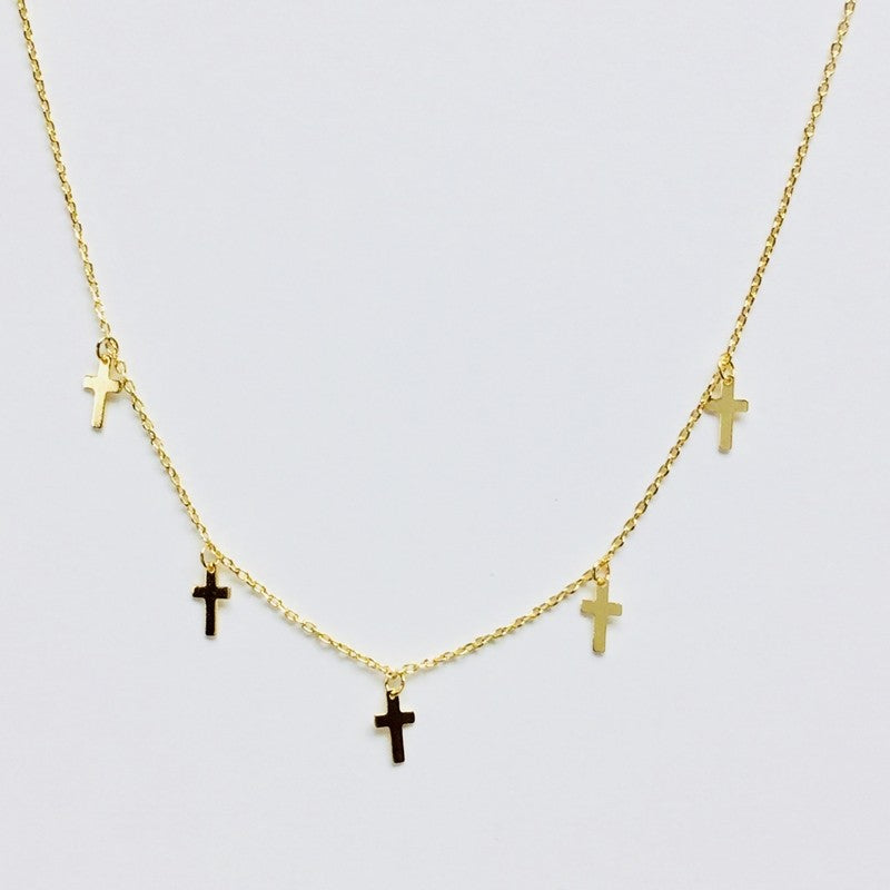 Multi Tiny Cross Necklace - Jaffi's
