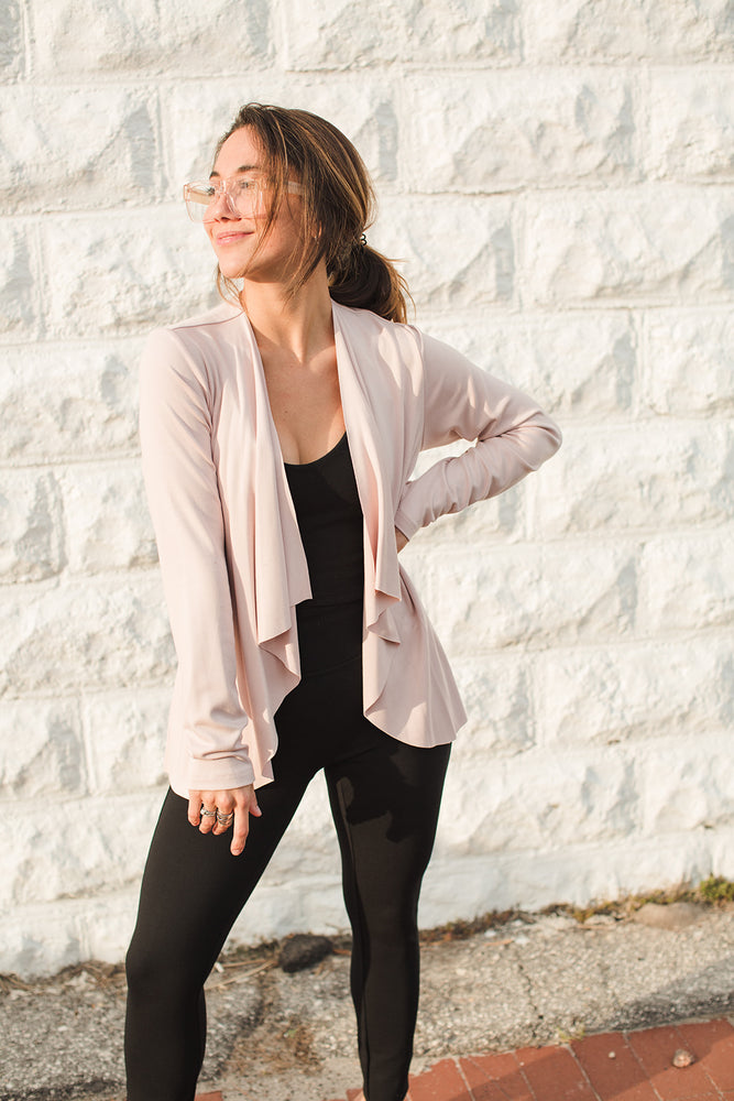 Open Drape Front Cardigan - Rose - Front View