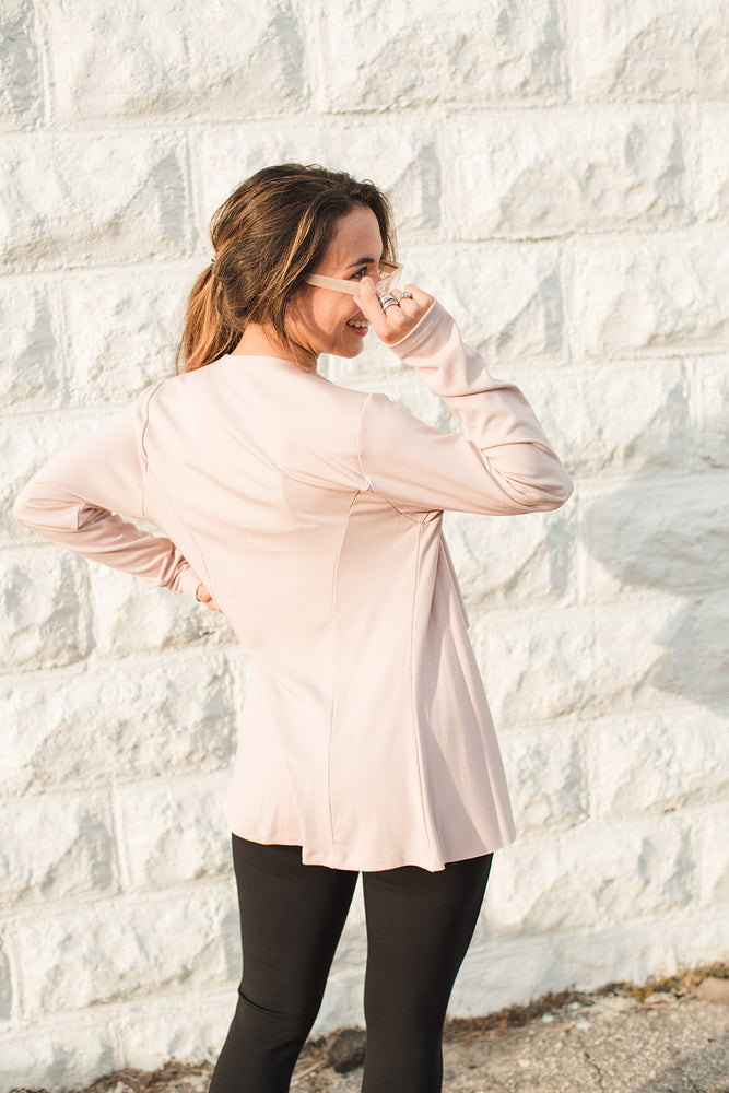 Load image into Gallery viewer, Open Drape Front Cardigan - Rose - Back View