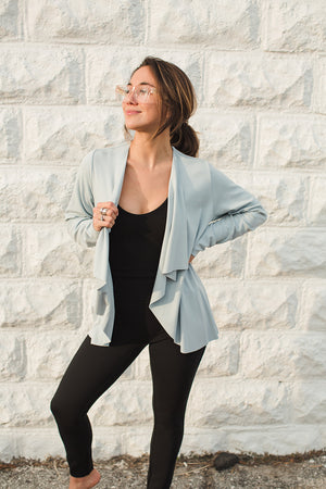 Load image into Gallery viewer, Open Drape Front Cardigan - Cerulean- Front View