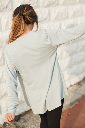 Load image into Gallery viewer, Open Drape Front Cardigan - Cerulean- Back View
