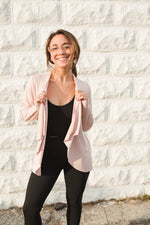 Open Drape Front Cardigan - Rose - Alternate Front View