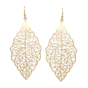 Load image into Gallery viewer, Filigree Laser Cutout Leaf Drop Earrings - Jaffi's