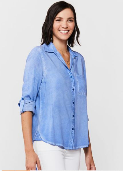 Elisa Button Down Top - Blue Provence Tie Dye - Side View