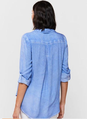 Load image into Gallery viewer, Elisa Button Down Top - Blue Provence Tie Dye - Back View