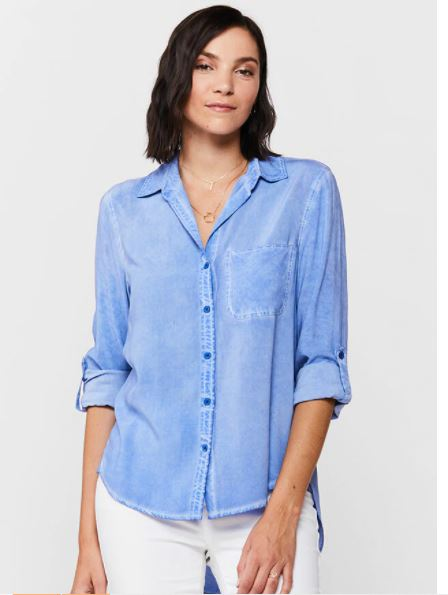 Elisa Button Down Top - Blue Provence Tie Dye - Front View