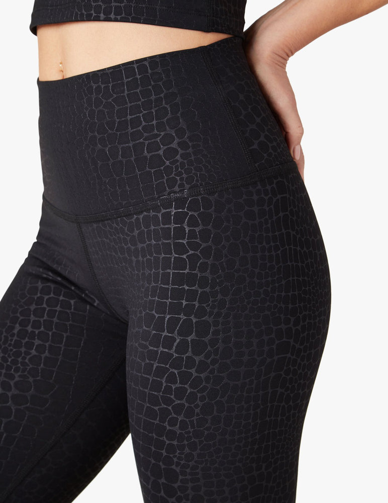 Embossed Croc High Waist Midi Legging - Up Close Side View