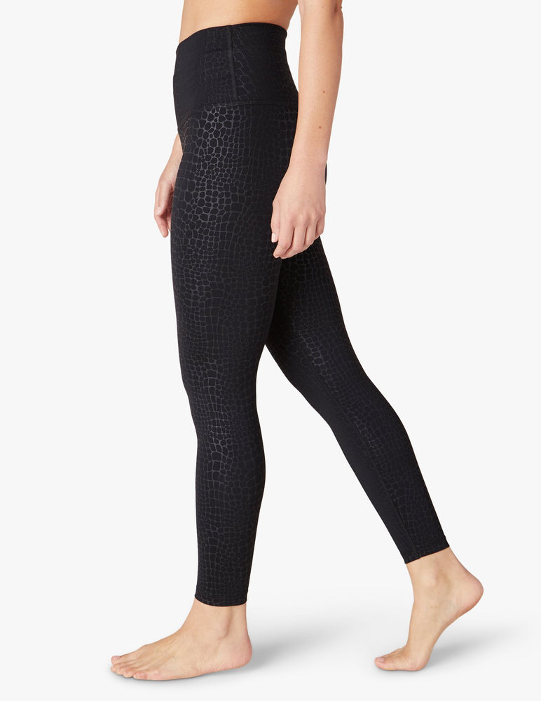 Load image into Gallery viewer, Embossed Croc High Waist Midi Legging - Walking View