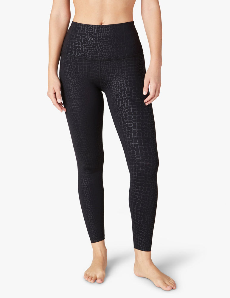 Embossed Croc High Waist Midi Legging
