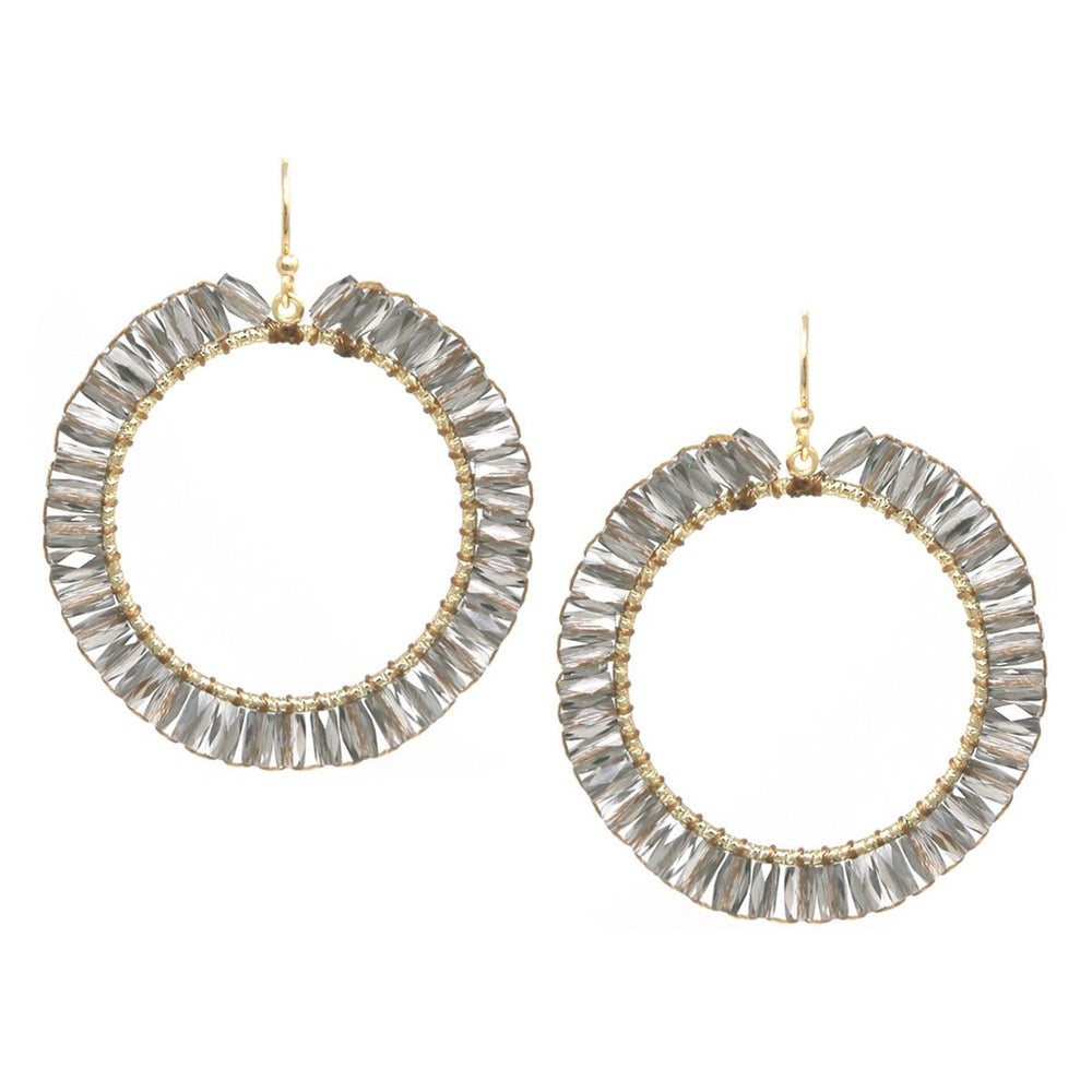 Faceted Tube Glass Bead Drop Earring - Jaffi's