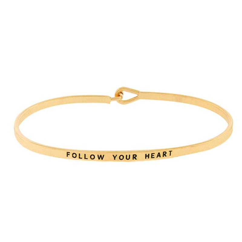 FOLLOW YOUR HEART Inspirational Message Bracelet - Jaffi's
